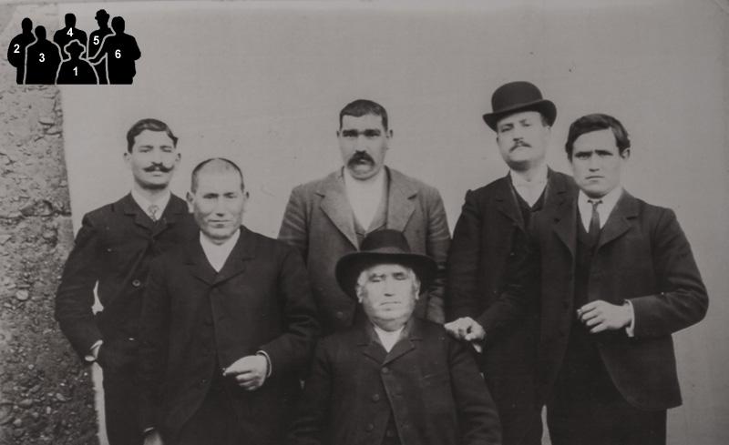 """Froilán Gonzalez (1) con sus hijos: Marcelino (2), Raimundo (3), Genaro """"el Bomba"""" (4), Heraclio (5) y Clauido (6)"""
